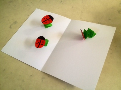 spring ladybird handmade card pop-up